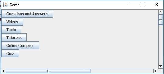 настроено отображение полос прокрутки в Java
